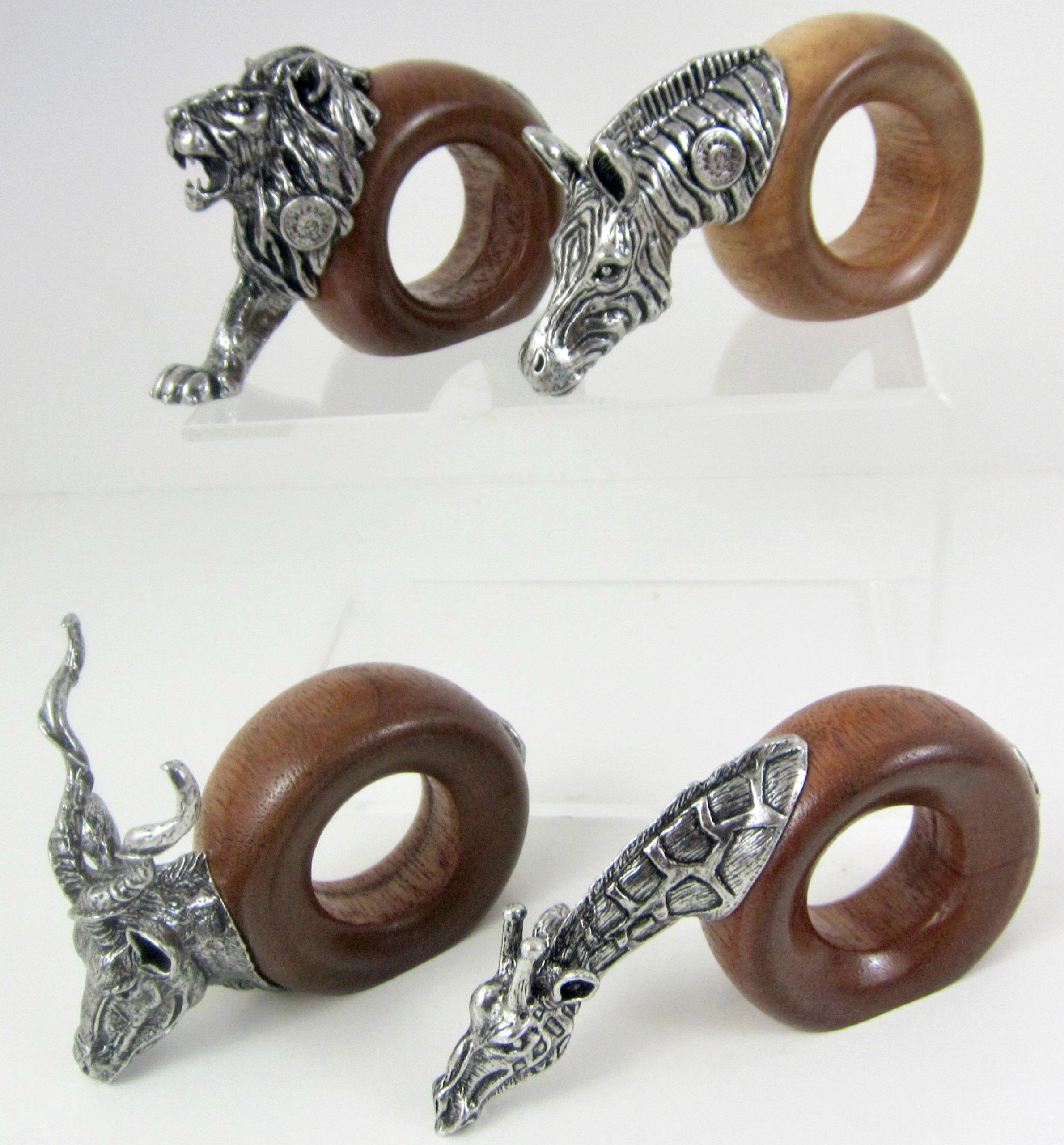Jungle Safari Figural Napkin Ring Set 4, Design A, South AFRICA Signed Pewter & Wood, Lion Giraffe Zebra Kudu Wildlife