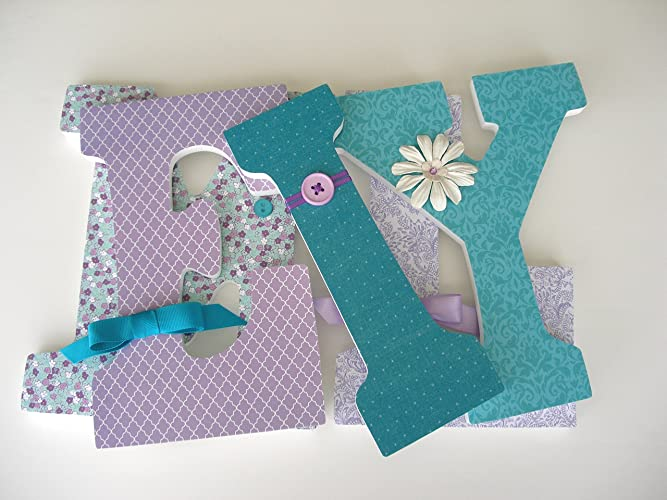purple and teal custom wooden letters lavender and aquamarine baby girl nursery decor large