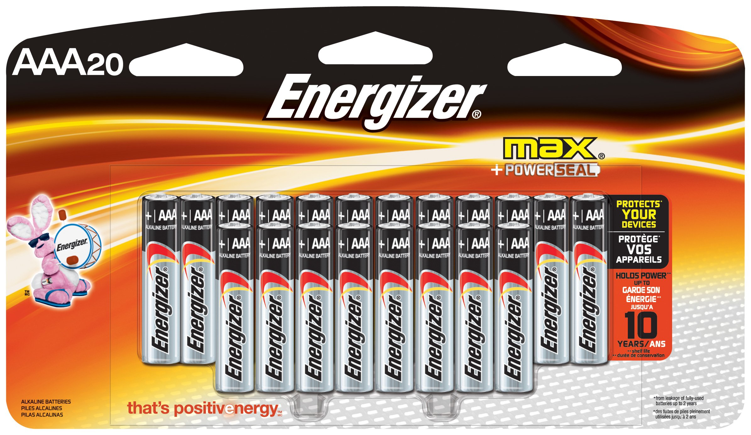 Energizer AAA Batteries, Triple A Battery Max Alkaline (20Count) E92LP-20