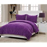 VCNY Rose Fur 2-Piece Comforter Set, Twin, Purple