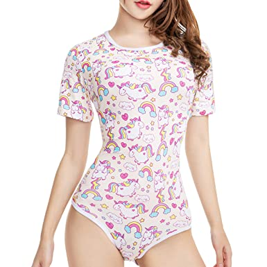 5a24dd0bf94 Amazon.com  TEN NIGHT Adult Baby Diaper Lover Onesie Unicorn ABDL Snap  Crotch Pajamas for Women  Clothing