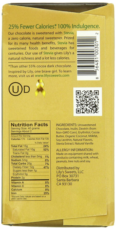 Amazon.com : Lily's Dark Chocolate Bar with Stevia, Coconut, 3 ...