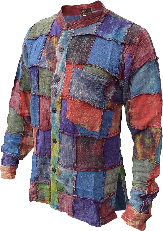 Gheri - Camisa para abuelo de algodón teñido con parche lavado a piedra Multicolor multicolor S: Amazon.es: Ropa y accesorios