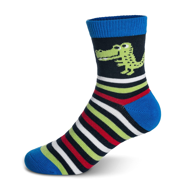 Boys Crew Socks Kids Toddler Little Boys Fashion Seamless Cotton Striped Athletic Socks 5 Pairs Pack