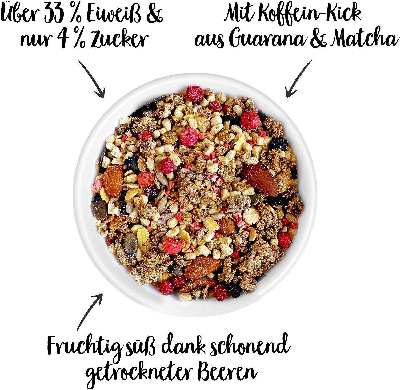 nu3 Fit Protein Muesli - Avena con proteína sabor Berry Crunch - 450 g de muesli proteico con bayas, almendras, guaraná y matcha - 33% de proteínas y ...