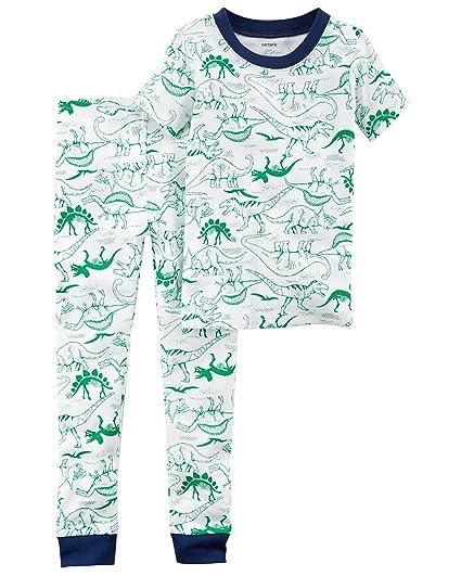 514fc5e61560 Toddler Boy s Prehistoric Dinosaur Green Dino Sketch Print Cotton Pajama  Set ...