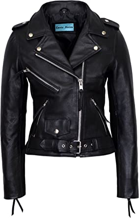 Ladies 9334 classic Designer Biker Style Soft Lambskin Awesome Leather Jacket