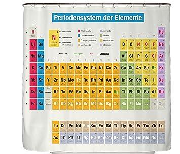 Arteneur Duschvorhang Periodensystem Auf Deutsch In 180 X 200 Cm Mit  Verstärktem Saum, Anti