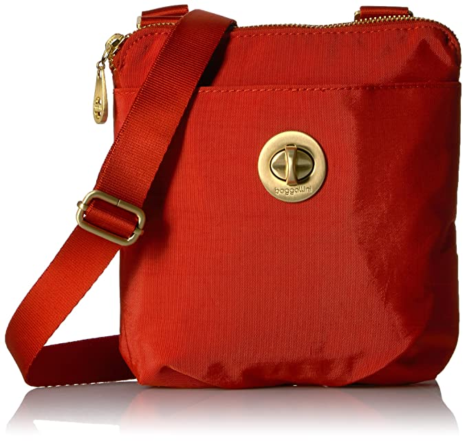 9aac5f83f Baggallini Mini Hanover Crossbody with RFID Protection Gold Hardware with  Lightweight Nylon, Adobe, One