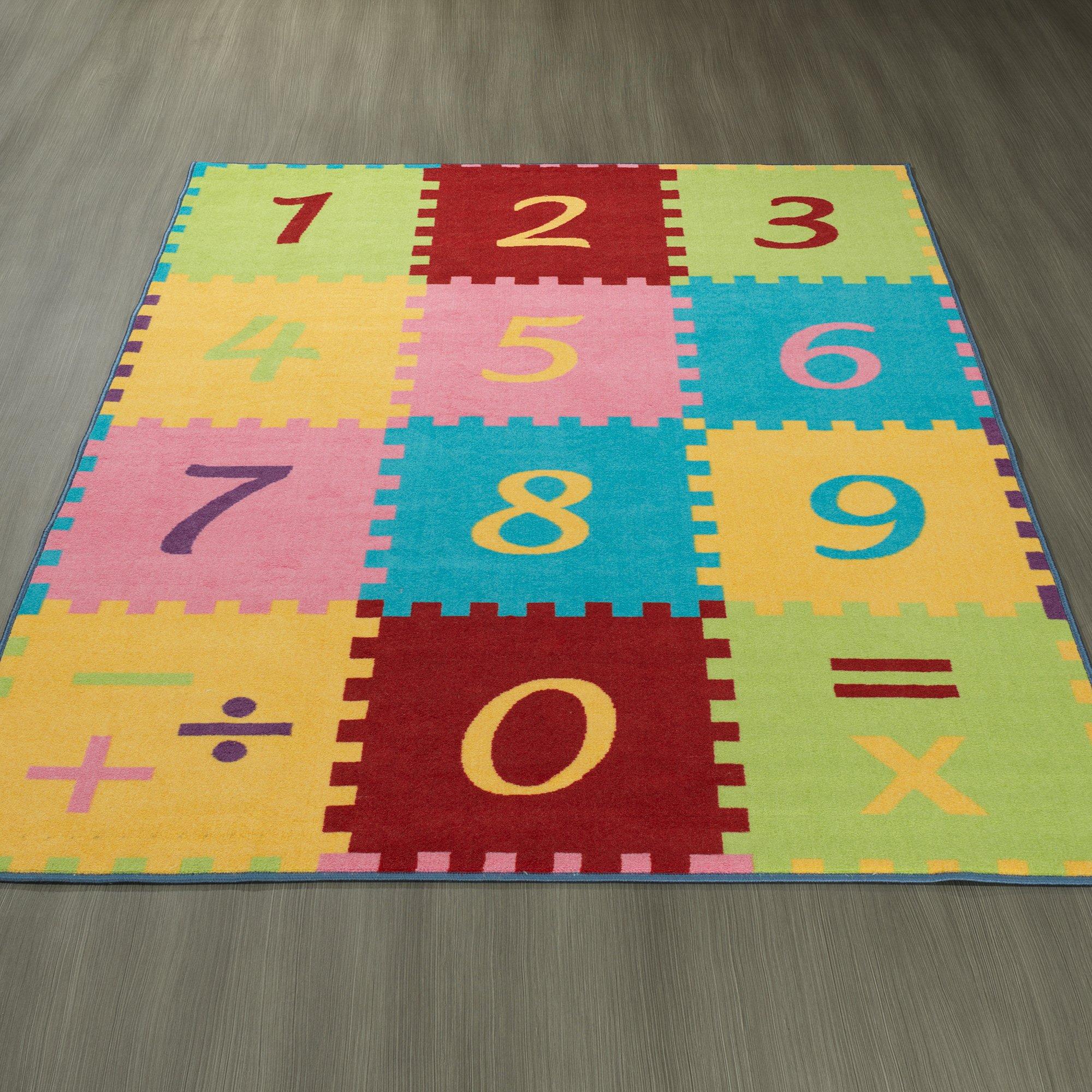Ottomanson Garden Collection Numbers Math Design Children Nursery Kid's Play Area Rug, 8'2'' X9'10'', Multicolor