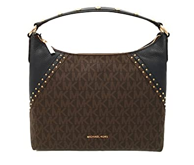 7077d7460df4 Michael Kors Aria Medium Monogram Signature Brown PVC/ Navy: Handbags:  Amazon.com