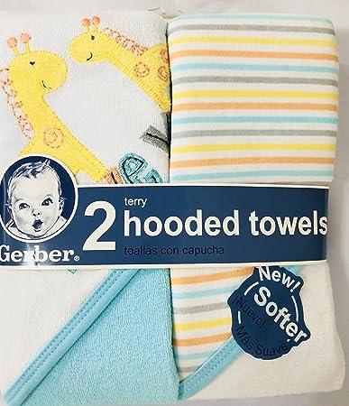 Amazon.com : Gerber Newborn Baby Unisex Terry Hooded Bath Towel, 2-Pack : Baby