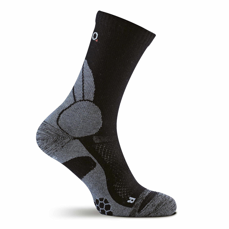 Eono Essentials - Calcetines de senderismo y trekking de lana merino para hombre y mujer (paquete de 2 uds.), tallas 39-42, Negro-Gris: Amazon.es: Deportes ...