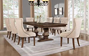 Best Quality Furniture 9PC Dining Set (1 Table + 8 Chairs), Walnut, Beige
