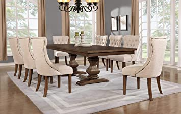Amazon Com Best Quality Furniture 9pc Dining Set 1 Table 8 Chairs Walnut Beige Table Chair Sets