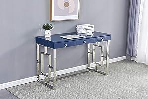 Best Master Furniture Brooke Mid-Century Modern Glossy Home Office Desk, Blue/Silver
