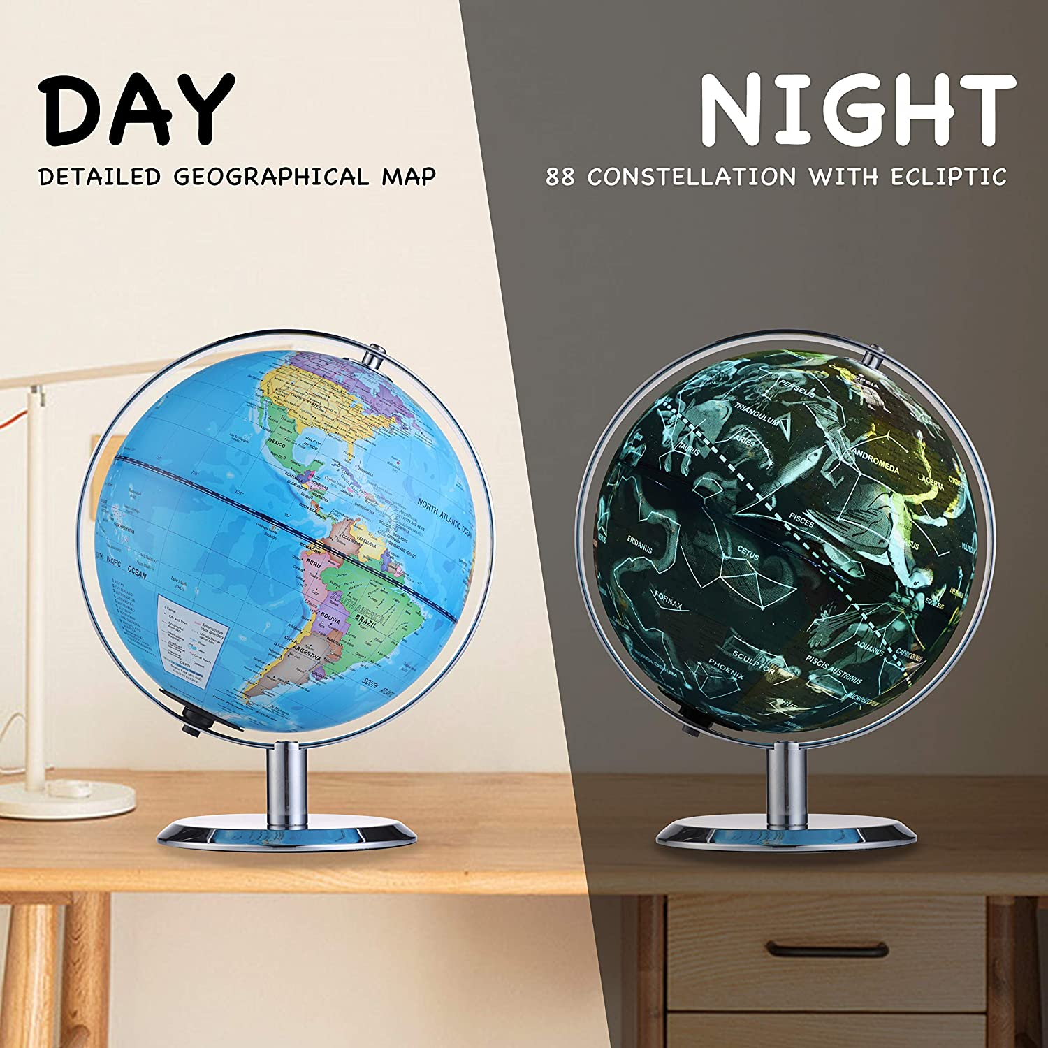 Rose Gold Anti-Fall Globe with Silver Plated Stand Globe for Kids 8 Inch Illuminated Led 3 in 1 Desktop Geographic Constellation Educational Discovery World Map Globes for School Child Adults