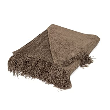 BIRDROCK HOME Internet's Best Chenille Throw Blankets - Taupe - Ultra Soft Couch Blanket with Fringe - Light Weight Sofa Throw - 100% Microfiber Polyester - Easy Travel - Bed - 50 x 60