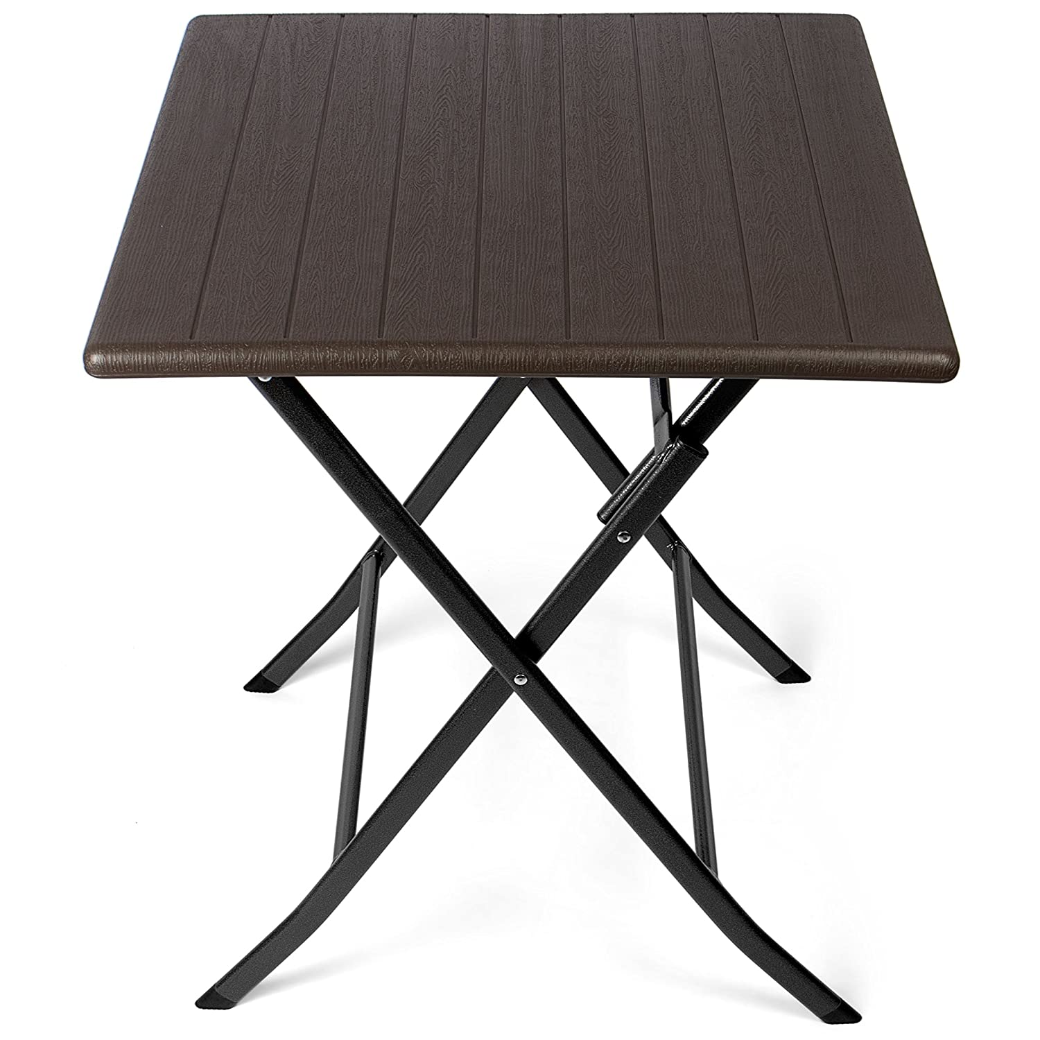 Park Alley PA-8991 Side Square Rattan Optic – Plastic Suitable for Garden, Terrace and Balcony – Bistro Table with Steel Frame, Black, 61.5 x 61.5 x 73 cm