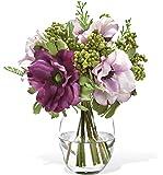Berry & Anemone Silk Flower Accent - Lavender/Purple