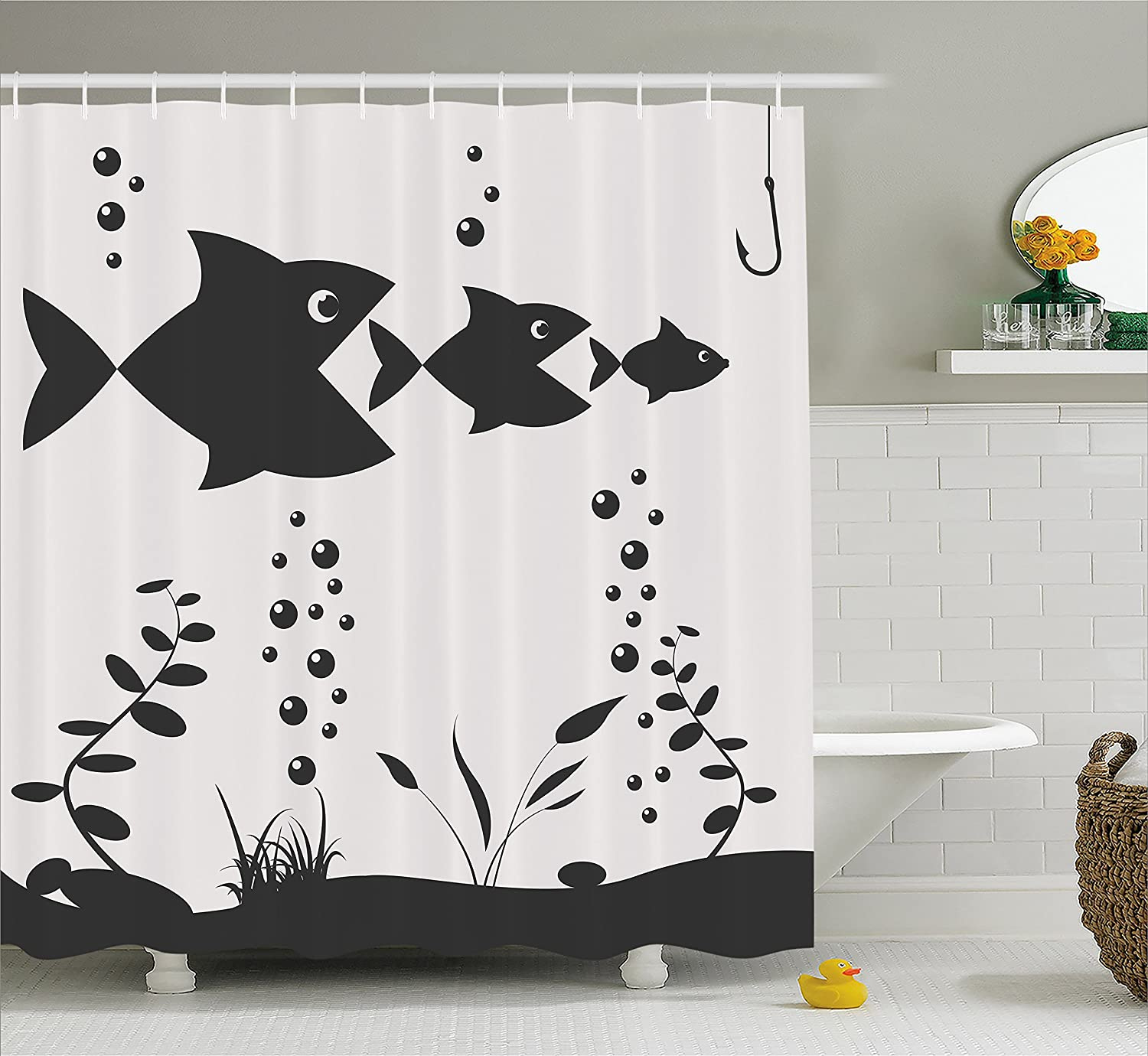 Fishing Shower Curtain By Ambesonne Big Fish Eats The Little Theme With Bubbles Coral Fabric Bathroom Decor Set Hooks 70 Inches Charcoal Grey And