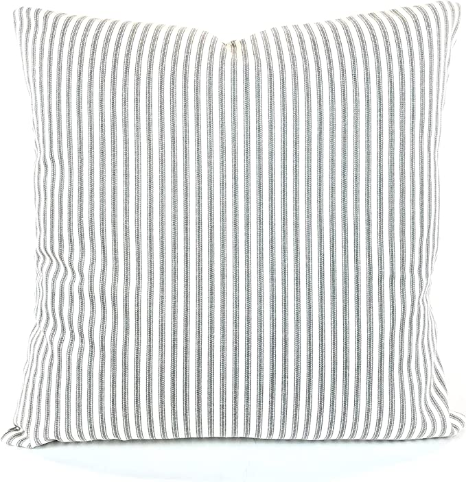 Toll2452 FARMHOUSE Gray Ivory Ticking Stripe Pillow Cover