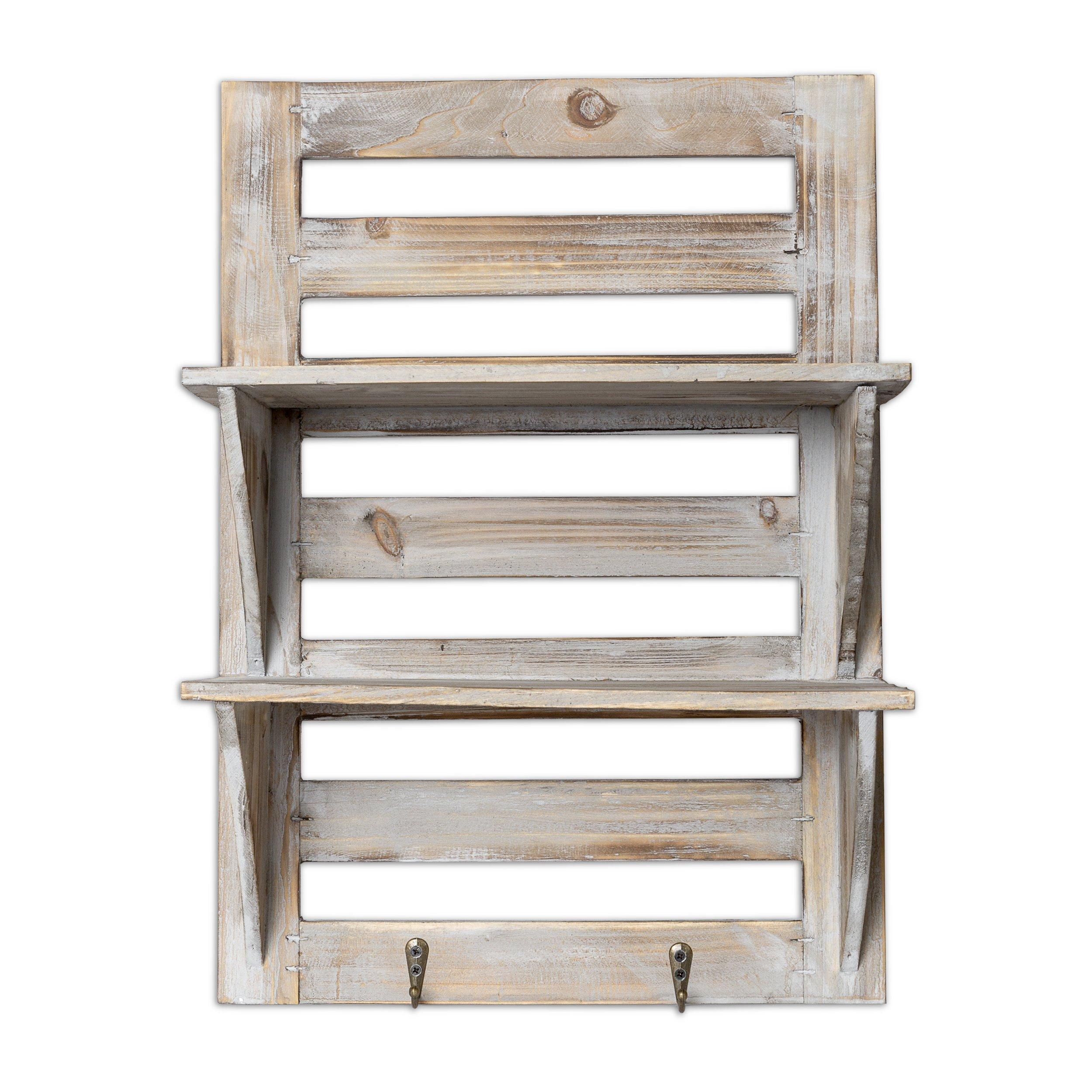 Besti Rustic Wood Wall Shelves With Hanging Hooks Eye