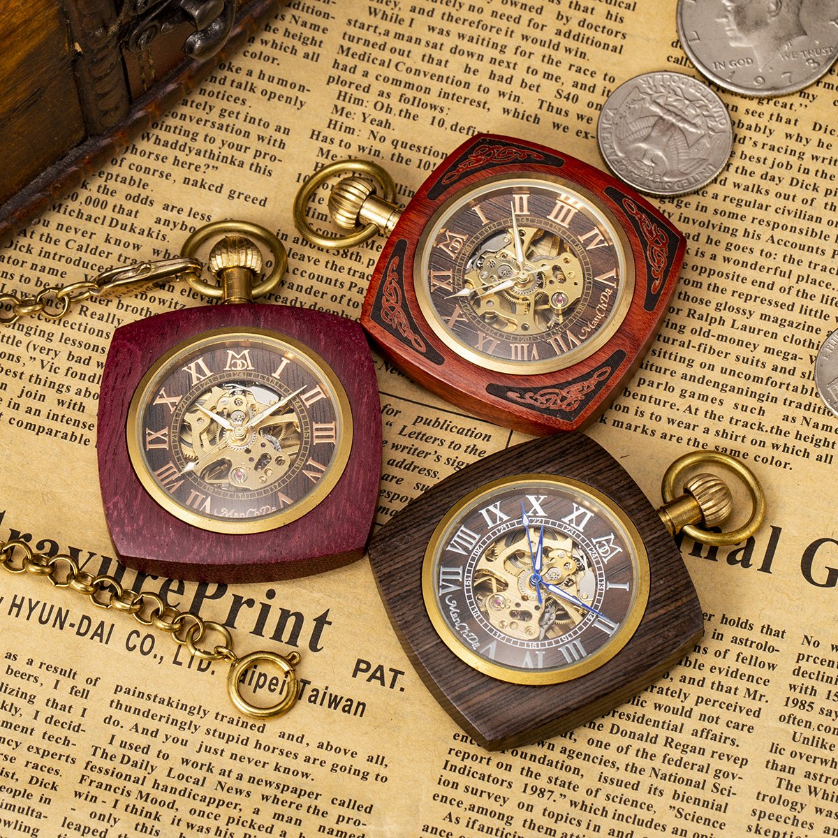 ManChDa Roman Copper Wooden Steampunk Mechanical Skeleton Pocket Watch With Chain Gift Box (4.Square Shape Roman Copper Red Wooden) by ManChDa (Image #3)