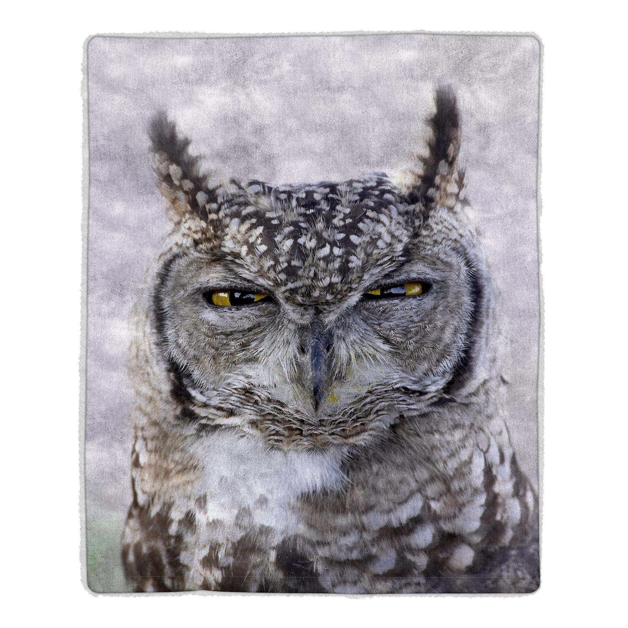 Lavish Home 64 Sherpa Fleece Blanket, Owl Print