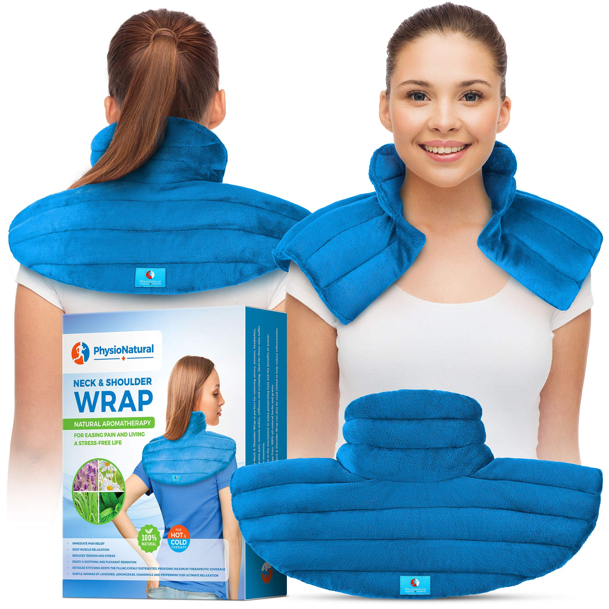 Neck and Shoulder Wrap - Instant Relief for Tension and Stress, Migraines, Headaches, Aches, Spasms, Arthritis, Stiffness, and Tightness - Deep, Penetrating Muscle Relaxation with Herbal Aromatherapy by PhysioNatural