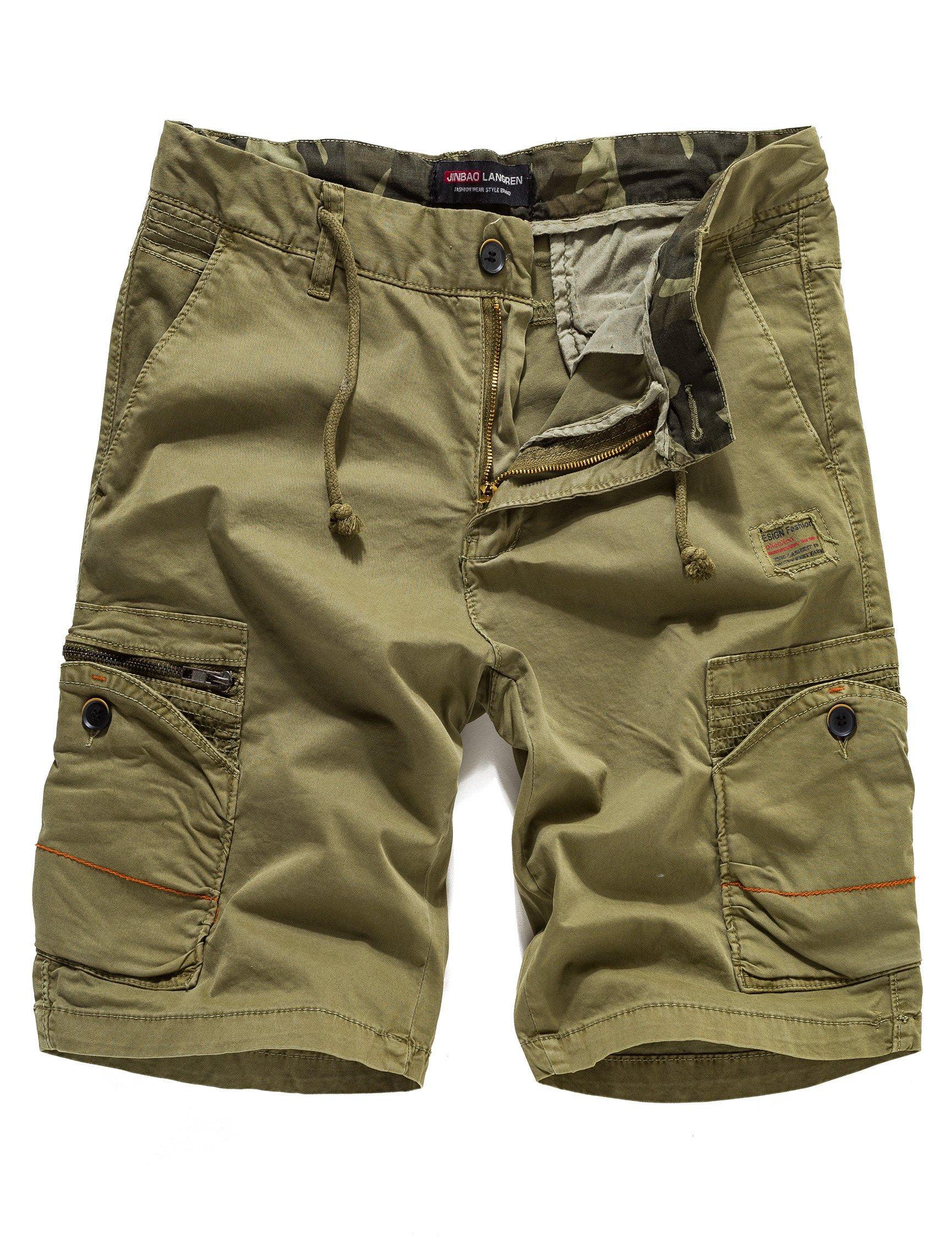 Eaglide Mens Casual Cargo Shorts, Mens Slim Fit Athletic Biking Casual Chino Shorts (Khaki, 38W)