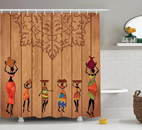 African Decorations Shower Curtain Set By Ambesonne, Ancient African Girl  Images On Vintage Wooden Texture