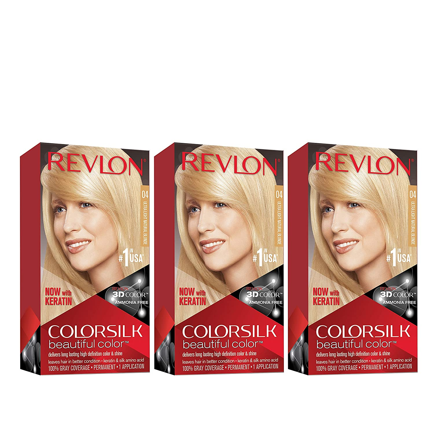 Revlon Colorsilk Beautiful Color, Permanent Hair Dye with Keratin, 100% Gray Coverage, Ammonia Free, 04Ultra Light Natural Blonde (Pack of 3)