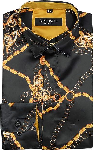 Xposed Camisa de satén para Hombre, Estilo Italiano, con Cadena Dorada, Color Negro: Amazon.es: Ropa y accesorios
