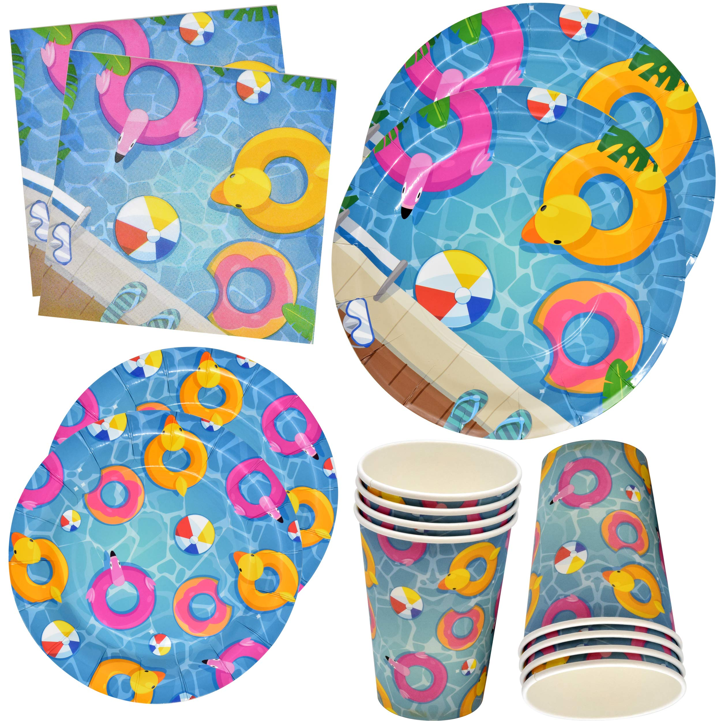 Pool Beach Summer Party Supplies Set Includes 24 9'' Plates 24 7'' Plates 24 9 Oz Cups 50 Lunch Napkins luau Ball Water Tube Picnic Theme Birthday Parties Baby Shower Disposable Tableware Gift Boutique