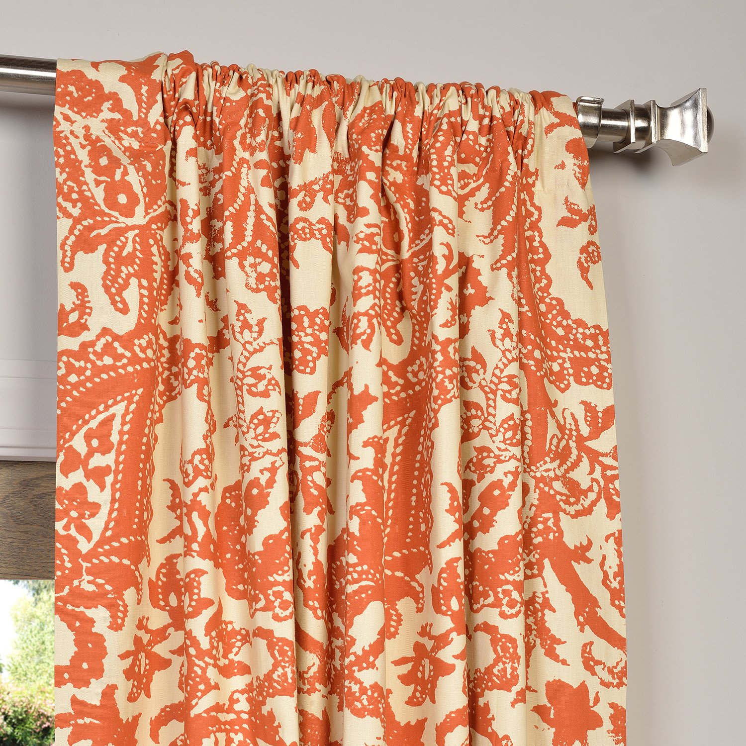 today panels taffeta product curtain orange fabrics home curtains faux garden free silk overstock panel harvest exclusive shipping