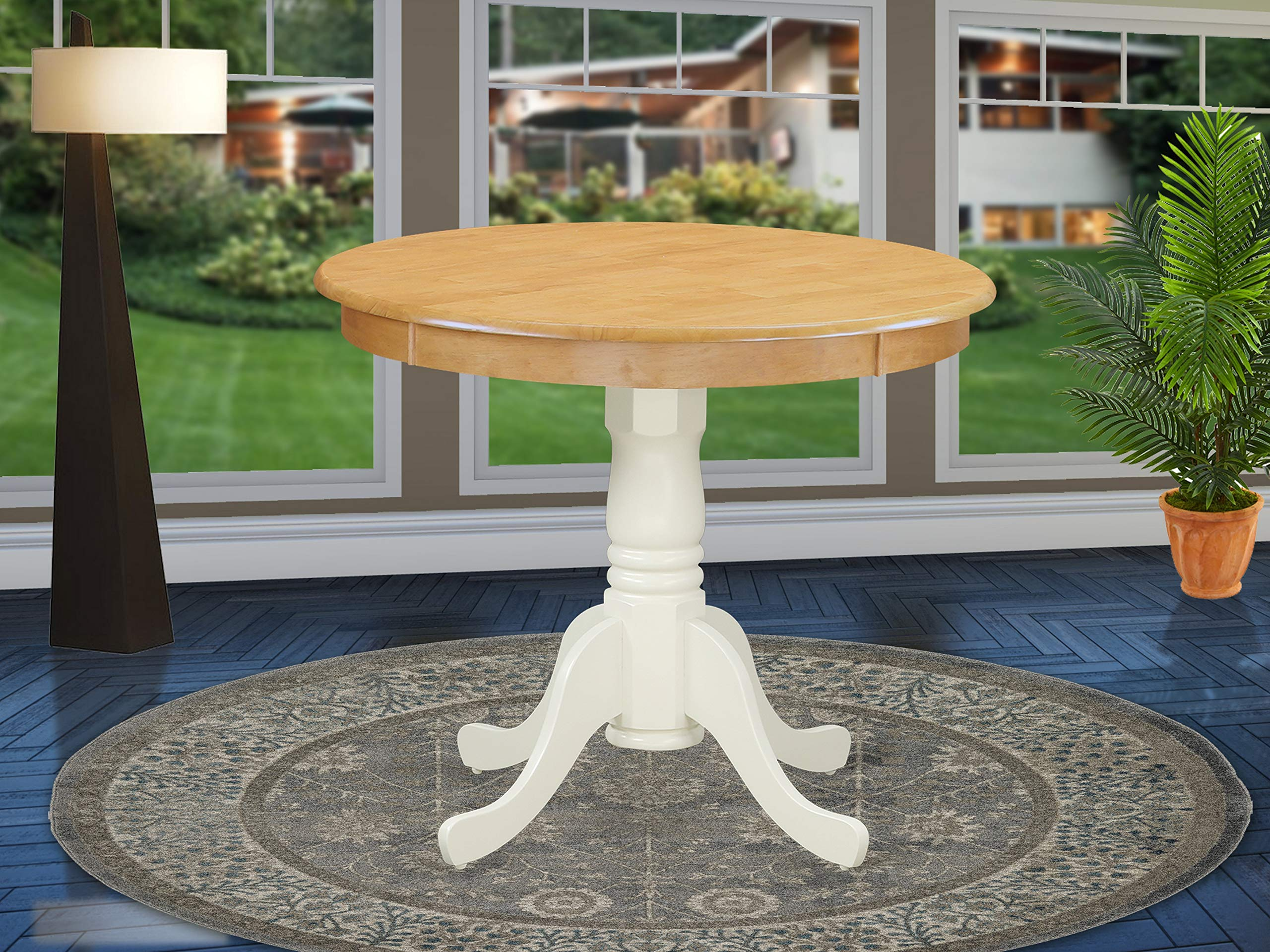 East West Furniture ANT-OLW-TP Antique Dining Table, 36'' Round, Oak and Linen White Finish by East West Furniture
