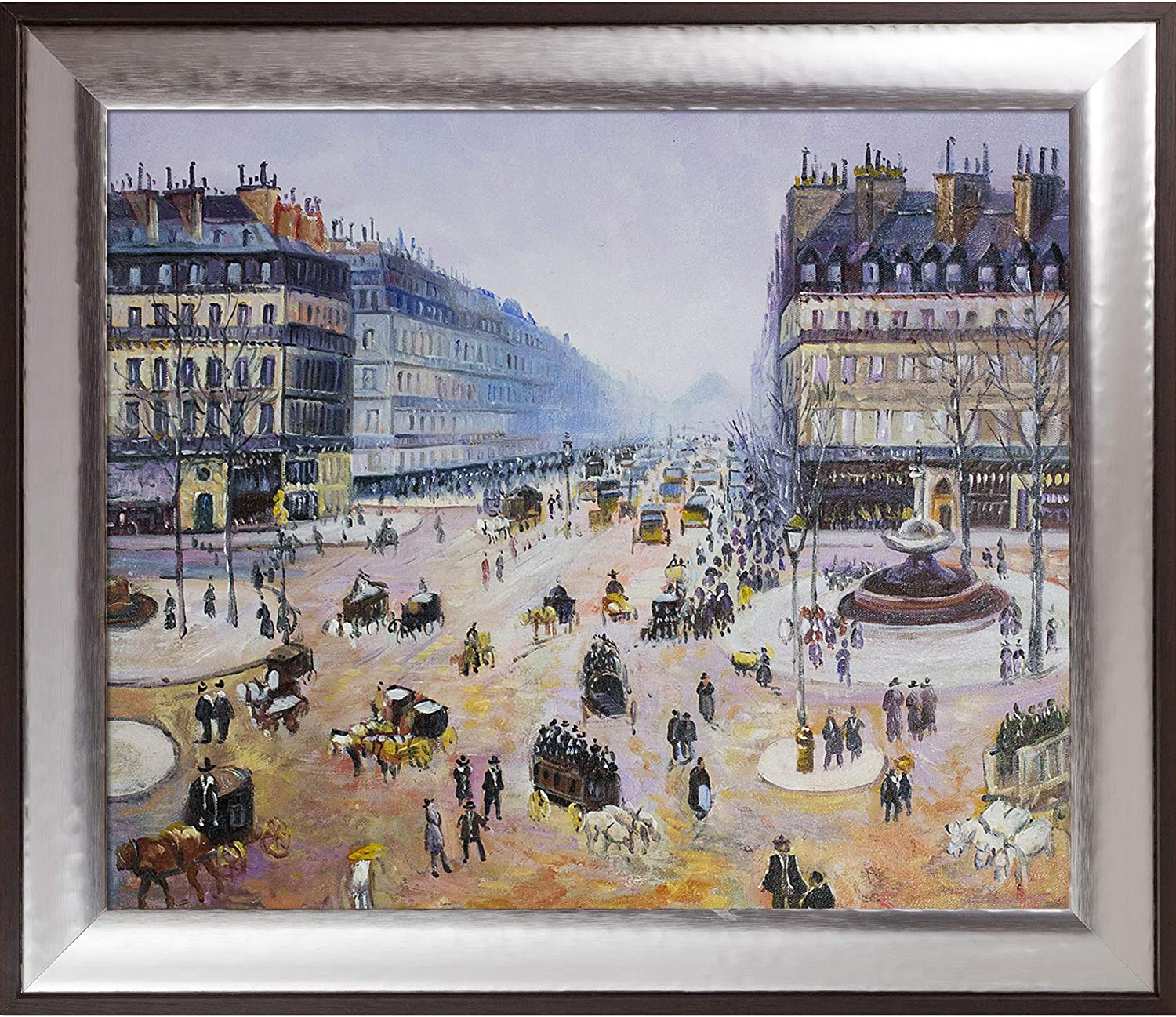 overstockArt Road to Bas-Breau Fontainebleau by Monet Hand Painted Oil on Canvas with Versailles Silver King Frame