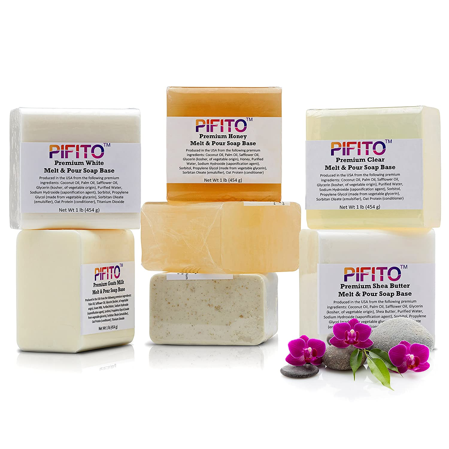 Pifito Premium Melt and Pour Soap Base Sampler - Assortment of 7 Bases (1lb ea); Clear, White, Goats Milk, Shea Butter, Oatmeal, Honey, Olive Oil - Total 7 lbs of Glycerin Hand Soap Making Supplies MPBSM1