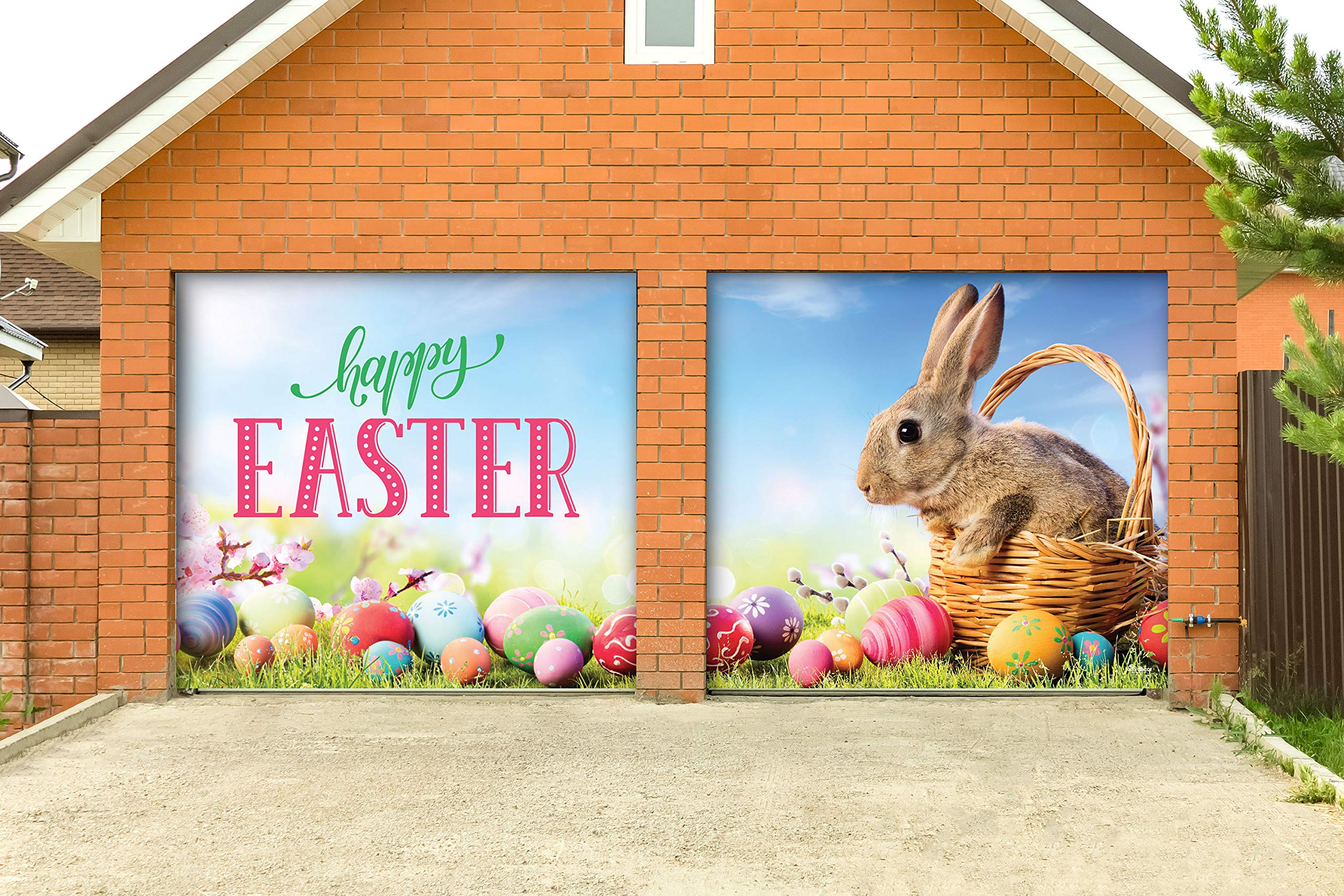 Victory Corps Happy Easter Bunny Basket - Holiday Garage Door Banner Mural Sign Décor 7'x 8' Split Car Garage - The Original Holiday Garage Door Banner Decor