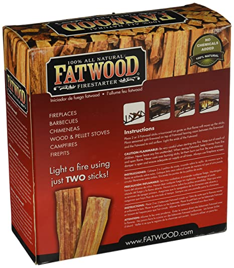 amazoncom fatwood firestarter cubic feet fatwood for fireplace in color box fire starters patio lawn u0026 garden - Fatwood