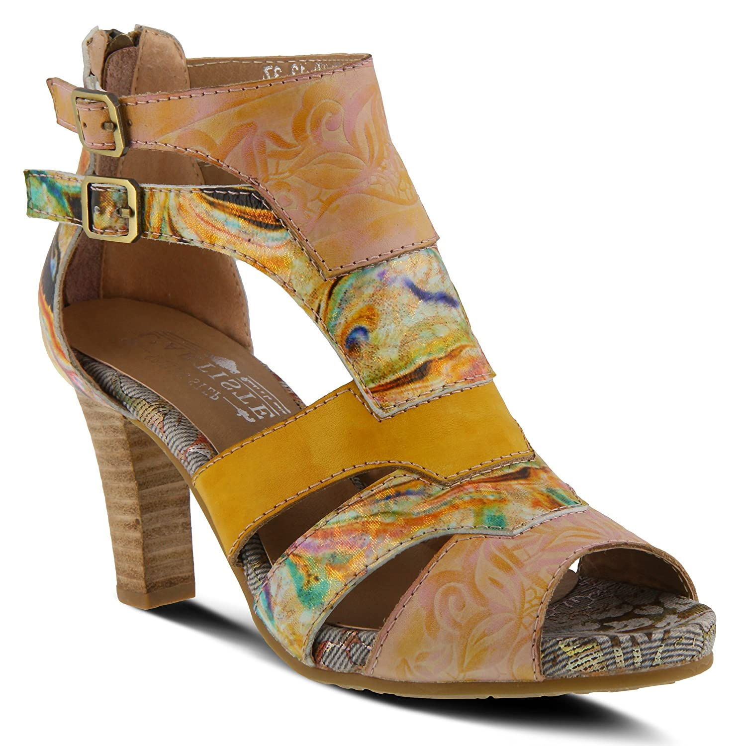 L'ARTISTE Shoes Women's L`Artiste Brooke Sandal | Color Yellow Multi | Women's Leather Peep Toe Laser-Cut Bootie. B07B4P99ZN 35 M EU