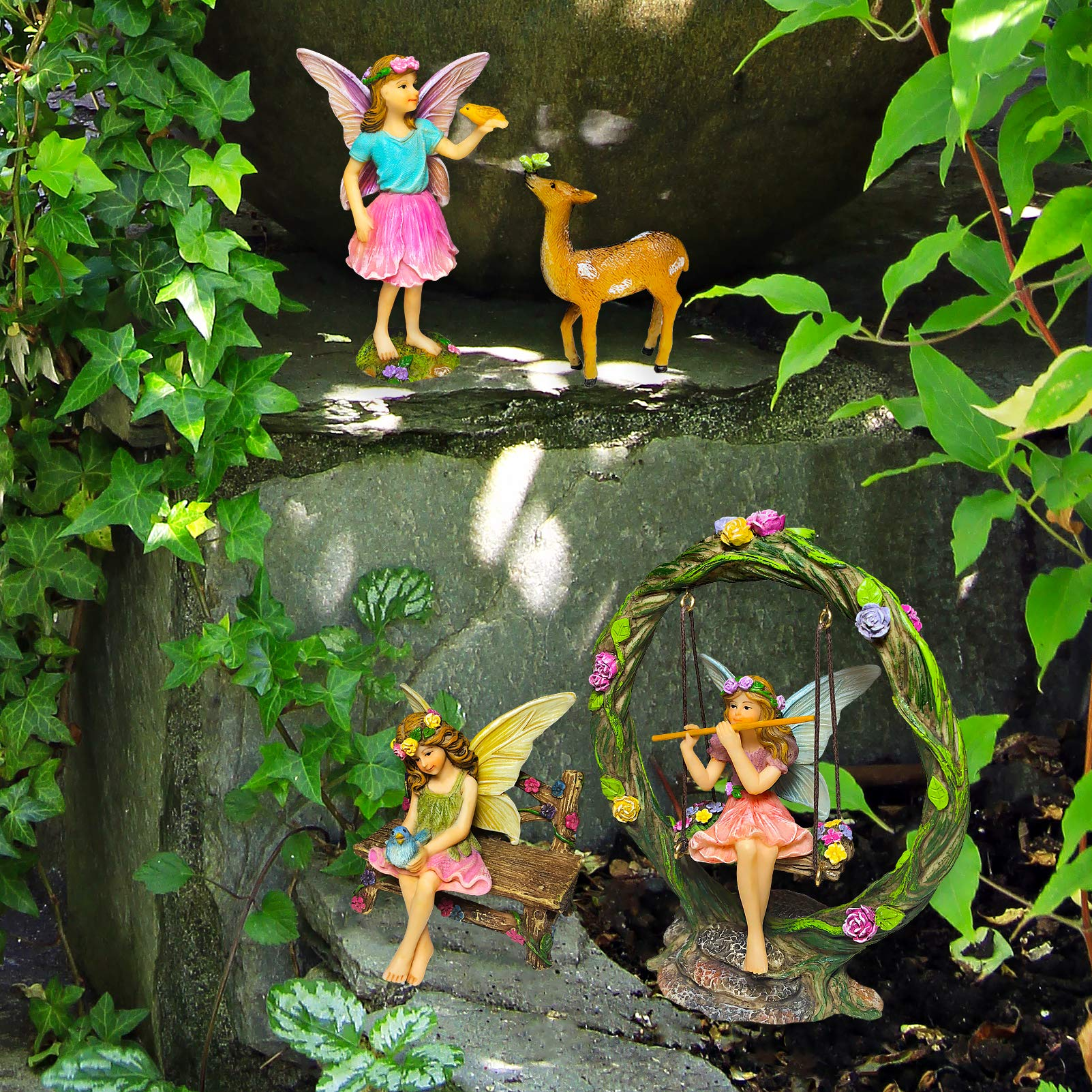 Mood Lab Fairy Garden Kit - Miniature Figurines with Accessories Swing Set of 6 pcs - Hand Painted for Outdoor or House Decor by Mood Lab (Image #9)
