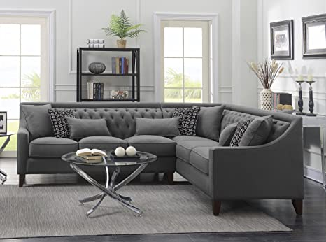 Iconic Home Orion Linen Tufted Back Rest Modern Contemporary Right Facing Sectional Sofa, Grey