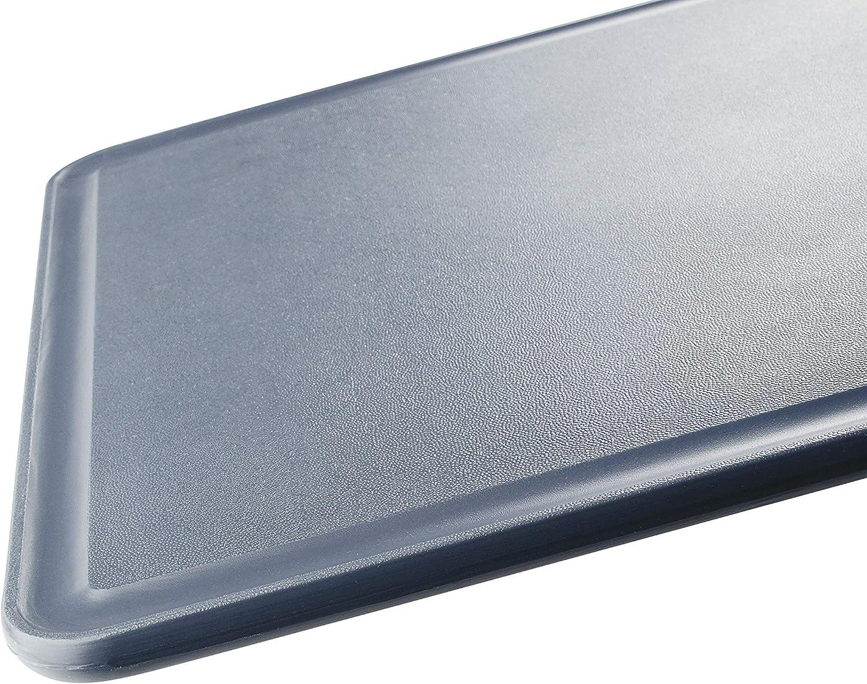 Farbe: Blau//Grau hochwertiges K/üchenbrett aus Kunststoff Schneidebrett mit Saftrille rutschfestes Tranchierbrett eckiges Zubereitungsbrett FACKELMANN Schneidbrett 36 x 24 cm Easyprepare