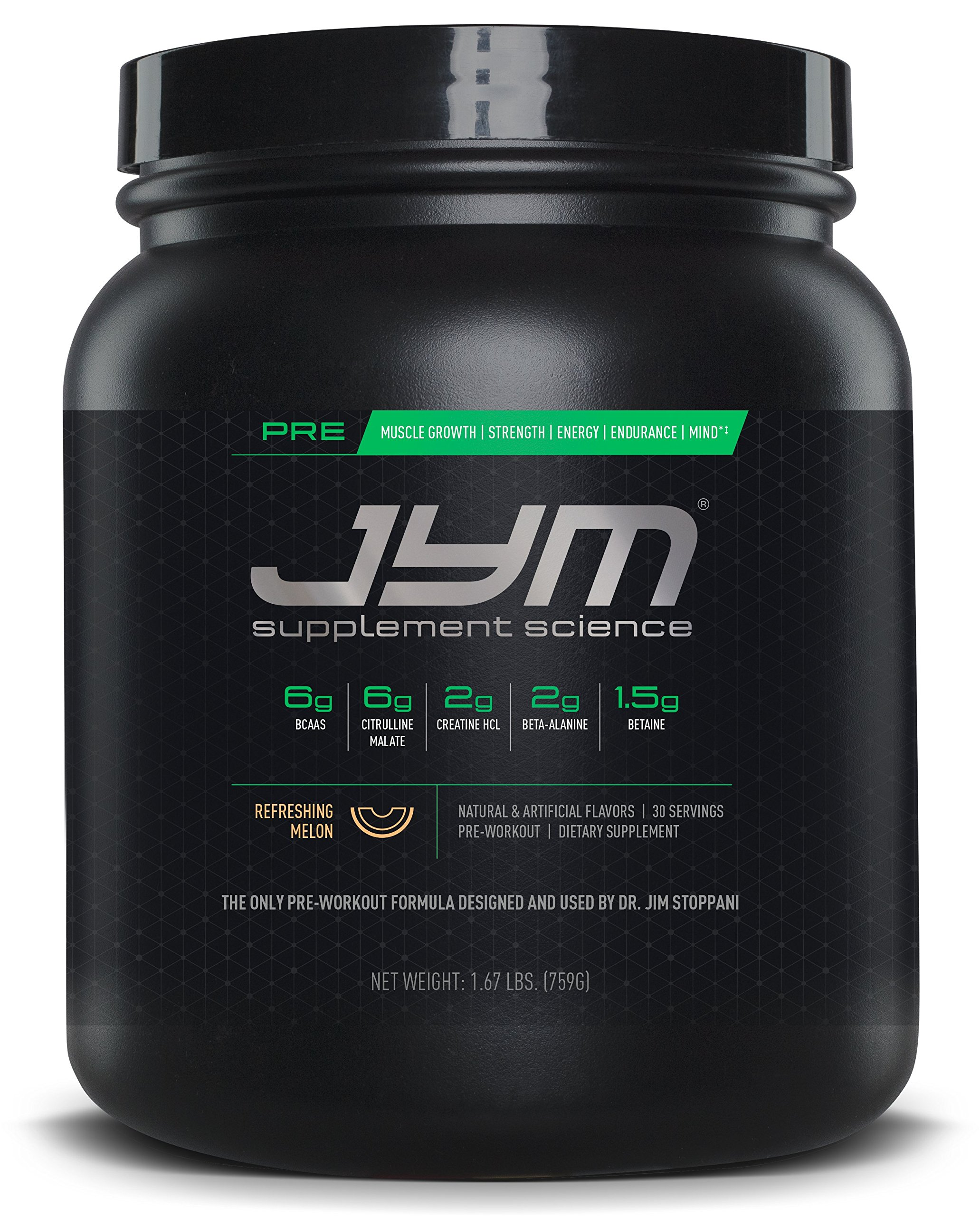 JYM Supplement Science, PRE JYM, Pre-Workout with BCAA's, Creatine HCI, Citrulline Malate, Beta-alanine, Betaine, Alpha-GPC, Beet Root Extract and more, Refreshing Melon, 30 Servings
