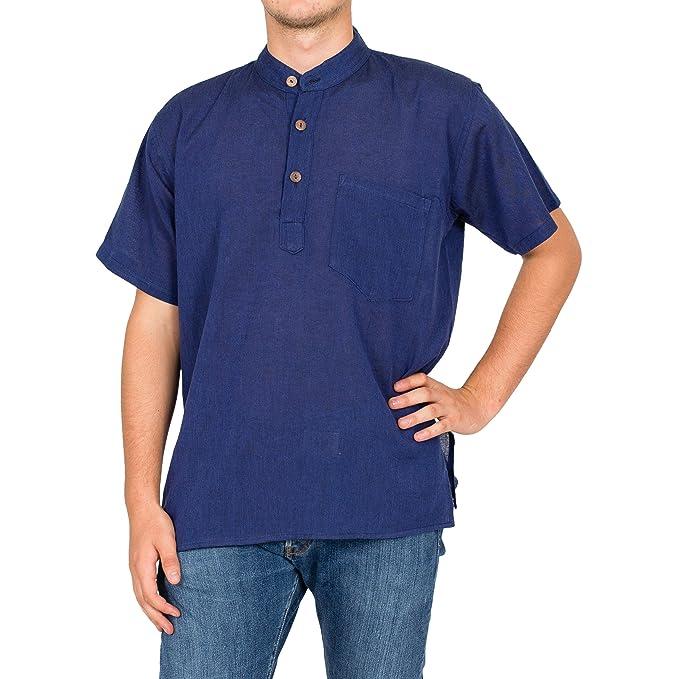 Nepal Shop - Camisa casual - Manga Corta - cuello mao - para hombre t3K7Ij