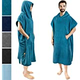 SUN CUBE Surf Poncho Changing Robe with Hood | Thick Quick Dry Microfiber Wetsuit Changing Towel with Pocket for Surfing Beac