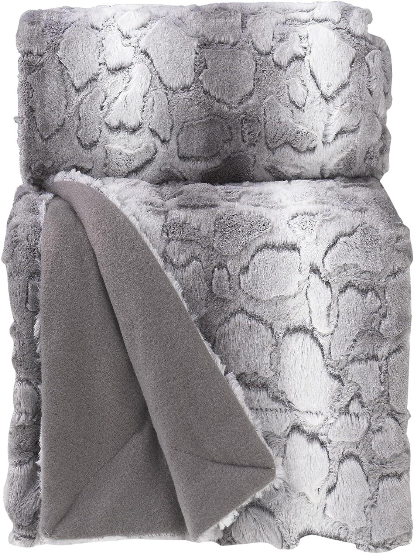 douceur dint/érieur plaid 125x150cm metallise quadris gris//argent