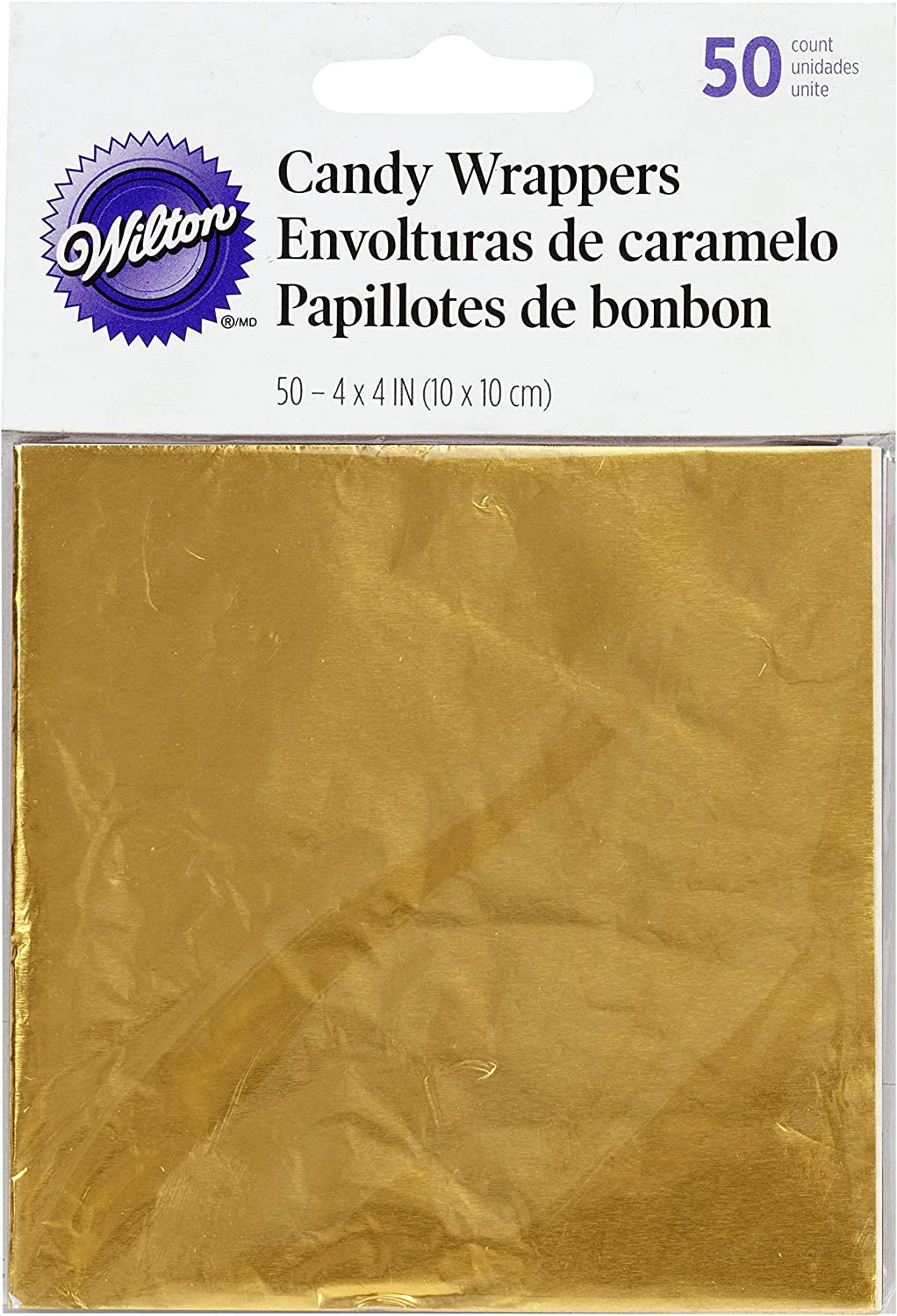 Wilton Foil Candy Wrappers, 4 by 4-Inch, Gold, 50-Pack